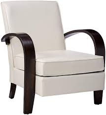 com roundhill furniture wonda bonded leather accent chair with wood arms white kitchen dining