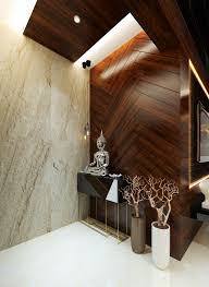 House Entrance Wall Design Grand Entrance With Veneer Groove Finish Wall And Italian