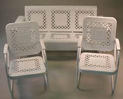 vintage metal furniture. Vintage White Metal Outdoor Patio Furniture Set Vintage V