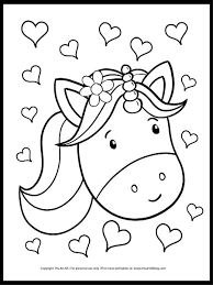 The magical free unicorns coloring pages you can print out. Hearts And Unicorn Coloring Page The Art Kit