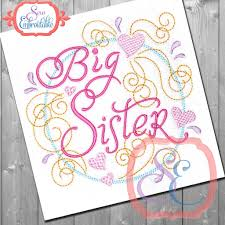 Girly Embroidery Designs Big Sister Swirly Embroidery Design Embroidery Designs