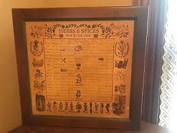 Herb And Spice Wall Chart Vtg 1965 Three Mountaineers Wooden Herb Spice Chart