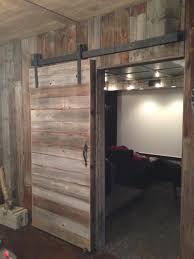 vertical plank varnished pine wood warehouse door