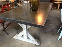 two tone trestle table dark stain top whitewash legs