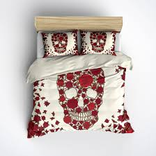 Sugar Skull Bathroom Decor Featherweight Skull Bedding Red Flower Skull Printed On Cream
