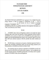 Purchase Agreement Samples Retail Purchase Agreement Form 7 Power Purchase Agreement Form