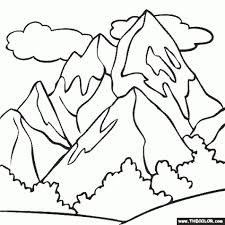Small Picture Mountain Coloring Page Color A Snowy Mountain throughout
