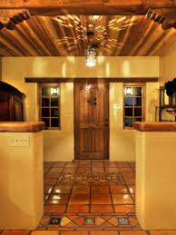 awesome mexican interior design with brown tile floor and beige wall for traditional living room design