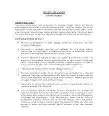 Personnel Management Job Description Nurse Manager Job Description Template Restaurant Cv