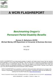 Permanent Partial Disability Rating Chart Oregon A Wcri Flashreport Benchmarking Oregon S Permanent Partial