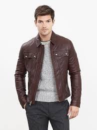 cognac genuine leather jacket banana republic