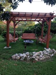 5 Swing Fire Pit Great Outdoor Area With Pergola Swings And Fire Pit Outside