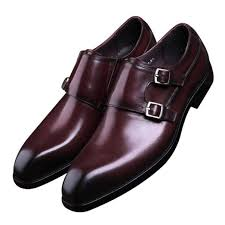 clorisruo fashion black brown double monk strap shoes mens business dress shoes genuine leather wedding boys formal prom brown shoes strappy heels from