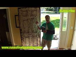 how to paint a stained fiberglass door