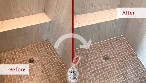 before and after picture of a shower floor grout sealing job in hendersonville tennessee