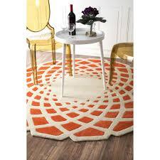 nuloom mid century modern round area rug orange 4ft x 4ft
