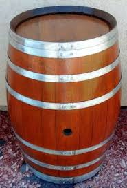 Decorative Wine Barrels come with black, burgundy, green or natural bands  like the one
