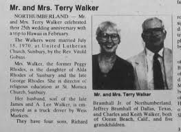 Peggy Ann Rhodes Bramhall Walker and Terry C. Walker: 25th Anniversary -  Newspapers.com