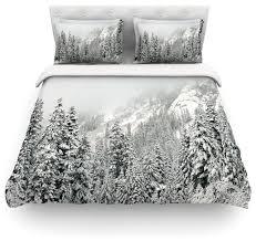robin inson winter wonderland white gray duvet cover cotton queen contemporary