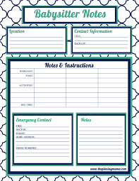 free printable charts and checklists. Babysitting Info Sheets Free Printable Charts And Checklists