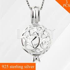 lgsy star hollow ball skeleton pearls charms 925 sterling silver necklace pendant locket cage pendant 3pcs