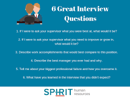 Good Questions To Ask The Interviewer 6 Great Interview Questions To Ask Spirit Hr