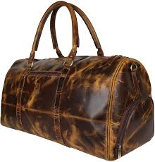 Mens Designer Duffle Bags Leather Duffle Bags For Men Travel Bag With Shoe Pocket 21 Inch Brown