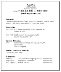 Sample Of Resume For High School Student Student Job Resume Examples