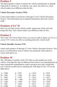 10th Digit Vin Number Chart How To Decode Your Vin Number Pdf Free Download