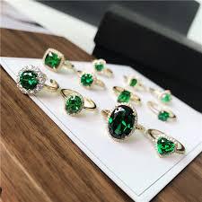 Vintage Rings For Women <b>S925</b> Sterling <b>Silver</b> Emerald <b>Green</b> ...