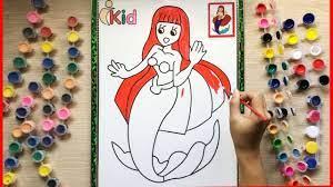 Đồ chơi trẻ em TÔ MÀU NƯỚC NÀNG TIÊN CÁ ARIEL - Coloring Ariel mermaid toys  (Chim Xinh) - YouTube