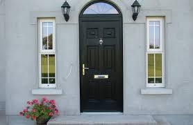 georgian 1 black door arched frame cream sidelights