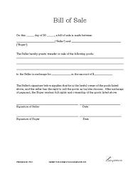Basic Bill Of Sale Template Printable Blank Form Microsoft Word