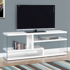 glossy white tv stand. Beautiful Glossy MONARCH  TV STAND GLOSSY WHITE WITH TEMPERED GLASS FOR TVu0027S UP TO 60 Inside Glossy White Tv Stand W