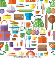 Seamless kitchen tools background flat style elements clipart