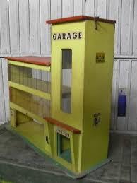 Ancien Grand GARAGE MAJOLU ?? Bois Pour Véhicule Miniature Années 50