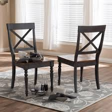 baxton studio rosalind gray and um brown wood dining chairs set of 2