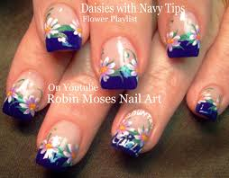 White Daisy On Navy Blue Nails! Cute Flower Nail Art Design ...