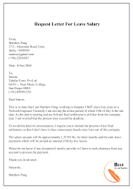 Request Letter For Leave Salary 01 Best Letter Template