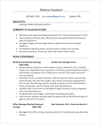Medical Assistant Sample Resume