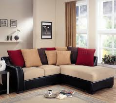 beige microfiber modern sectional sofa w dark brown vinyl base