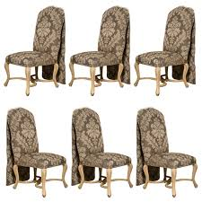 set of six paint decorated dining chairs by kreis for