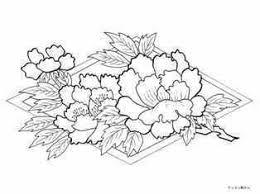 着物の牡丹の花の柄の塗り絵の下絵画像 Coloring For Big People