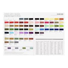 Japanese Color Chart Turner Acrylic Gouache Paint Japanesque Colors Hand Painted Color Chart
