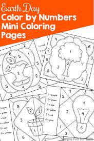 Small Picture Earth Day Color by Numbers Mini Coloring Pages Simple Fun for Kids