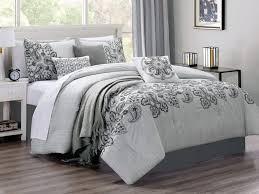 8 pc bali paisley garden fl embroidery striated stripe comforter set gray white king