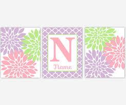 baby girls canvas nursery wall art purple lavender pink mint green modern girl vintage baby
