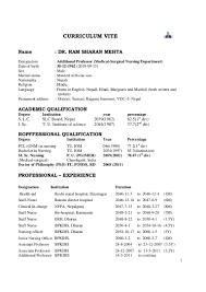 Resume Samples For Bsc Nursing Students Resume For Study