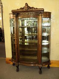 fabulous oak curved glass curio china cabinet circa vintage antique corner with curio cabinet