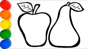 Manzanas Para Colorear Frutas Con Brillantinas Dibujar Y Colorear Manzana Pera Y Sandia Learning Colors Funkeep